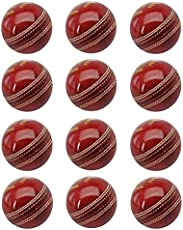 Tima Sports fun Leather Red Cricket Ball- Pack Of 12 Red
