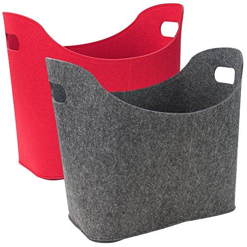 Preisvergleich Produktbild Filztasche Filzkorb Kaminholztasche Kaminholzkorb Korb Filz Zeitungsständer Zeitungskorb in zwei verschiedenen Farben
