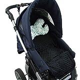 BAMBINIWELT Sitzunterlage, AUFLAGE MIT KISSEN für Buggy Kinderwagen Babyschale DESIGN MINKY (schwarz türkis Tiere)