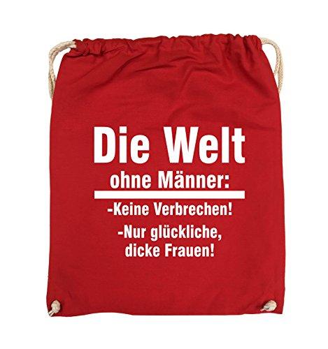 Comedy Bags - Die Welt ohne Männer - keine Verbrechen nur dicke Frauen - Turnbeutel - 37x46cm - Farbe: Schwarz / Silber Rot / Weiss
