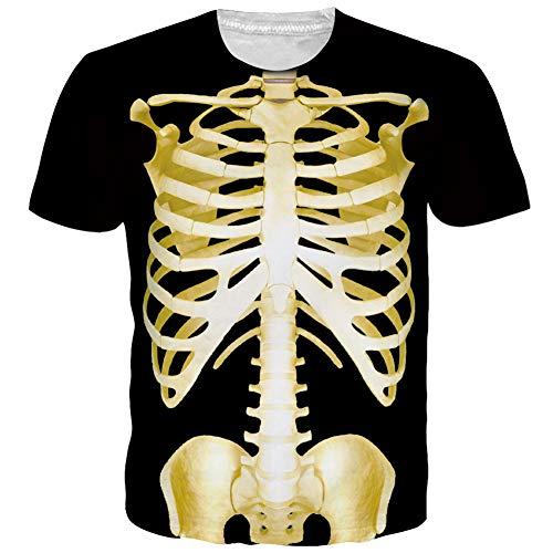 NEWISTAR Herren 3D Skelett Druck Sommer T Shirts Kurzarm T-Shirts Top Halloween Tees