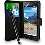 Huawei Y530 Black Leather Wallet Flip Hülle Tasche + Touch Pen Stylus + Display Schutzfolie & Poliertuch