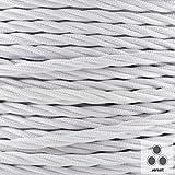 Globe-Warehouse - Cavo a 3 fili intrecciati, rivestito in tessuto di cotone, di forma circolare, ideale anche come cavo di alimentazione elettrica, per lampada, 3 x 0,75 mm², colore: Bianco