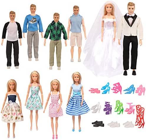 SUBANG 60 Pcs Doll Clothes Set Include 20 Pack Doll Clothes Party Grown Outfits 20 Pair of Shoes and 20 Pcs Hangers for Barbie Dolls Color Random