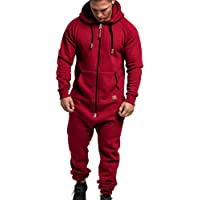 laamei Mens Onesies Full Zip Jumpsuit Playsuit All in One Hoodie Classic Print Sportswear Casual Tracksuit Full with…