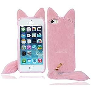 mignon rose renard chat protecteur housse coque étui case cover pour iPhone 5 5G 5S(Ne peut pas s'adapter 5C)