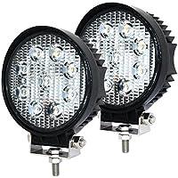 LED Luz de Trabajo,JieHe 2PCS Led Work Light Barra Led 27W 4.5inch Luces Trabajo Led 6000-6500K Foco Luz de Trabajo para SUV ATV UTV IP67