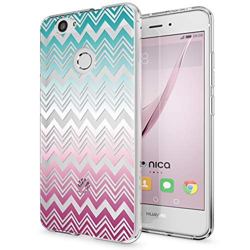 NALIA Handyhülle kompatibel mit Huawei Nova, Slim Silikon Motiv Case Cover Hülle Crystal Schutzhülle Dünn Durchsichtig, Etui Handy-Tasche Back-Cover Smart-Phone Bumper, Designs:Colorful Lines -