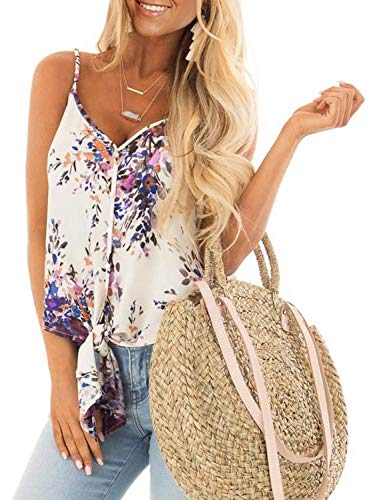 KOKOUK Womens Summer Sleeveless V-Neck Blouse Casual Adjustable Spaghetti Straps Vest Tank Tops S-XXL