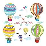DECOWALL DS-8020 Heißluftballon Flugzeuge Tiere Wandtattoo Wandsticker Wandaufkleber Wanddeko für Wohnzimmer Schlafzimmer Kinderzimmer (Klein)