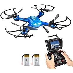 Hover Drone ESTABILIZACIÓN, Potensic F181DH AMPLIADO Drone con Telecámara FPV 5.8GHz 4CH 6-Axis Gyro RC Quadcopter Drone con Cámara HD Exlorers Helicóptero Nano Drone con Modo Headless, Función 3D Flips (Incluido las Hélices) - Azul