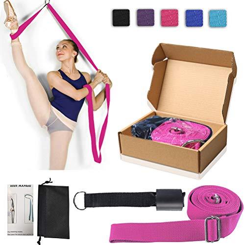XEMZ Cinghia di Yoga Balletto Cintura Elastica Elastica Esercizio Fitness Fasce, Ideale per casa o Palestra Foot Stretch Yoga Strap Belt Band, Pilates idoneità Sportiva Accessori (Rosa Rossa)