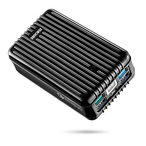 Zendure A8QC 26800mAh Powerbank Externer Akku, Akkupack mit Qualcomm Quick Charge 3.0, kompakter Zusatzakku mit 4-Port und LED Dislay für iPhone, Samsung Galaxy, Huawei und mehr Smartphone -Schwarz