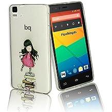 """Funda de Gel Tpu Transparente de alta calidad """"chica de libro para BQ AQUARIS E5 HD y E5 4G LTE - Envio por mensajeria URGENTE"""