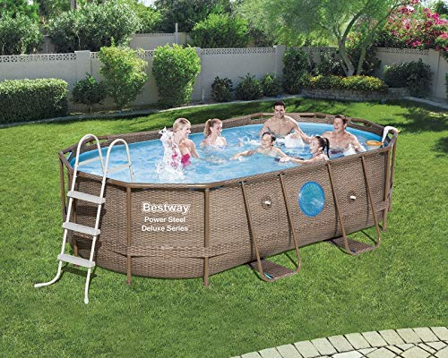 Bestway Piscine Swim Vista Pool Ovale 4.27 x 2.50m Hauteur 1.00m Imitation tressé + hublots