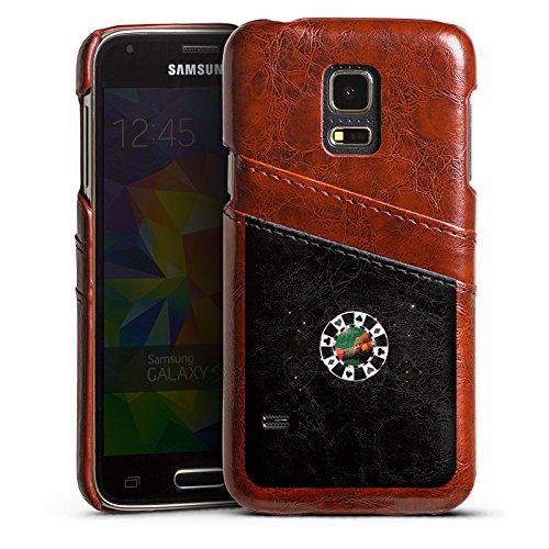 DeinDesign Samsung Galaxy S5 Mini Lederhülle Maroon Leder Case Leder Handyhülle Poker Chip Heart -