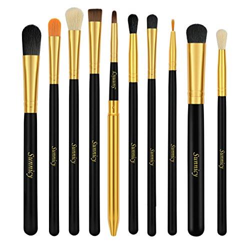 Pinceaux Maquillages Yeux 10 PCS Pinceaux Maquillage à Yeux Fard à paupières Eyeliner Lip Brush Powder Foundation Outil Cosmétique Pinceaux Kit