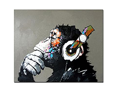 Fokenzary Hand Painted Oil Painting on Canvas Pop Art Cool Ape Listening Music with Headphone Framed Ready to
