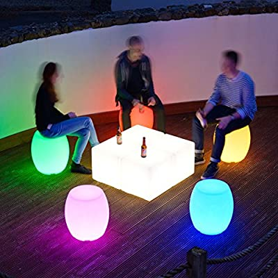 Colour Changing 46cm LED Barrel Stool produced by Ambi-glow - quick delivery from UK.