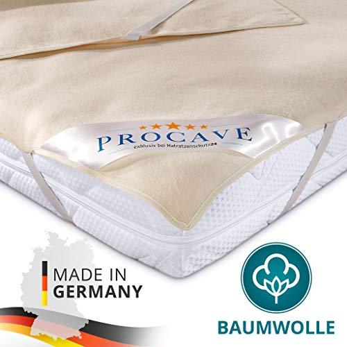 PROCAVE Matratzen-Auflage aus 100% Baumwolle, Natur-Matratzenschoner atmungsaktiv, hochwertige Moltonauflage als Matratzenschutz, Premium Qualität Made in Germany 120x200 cm