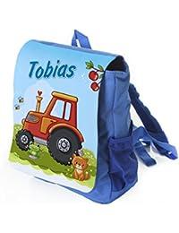 Preisvergleich für Kleiner blauer Kinderrucksack Traktor in rot mit Name bedruckt, Ideal für Kita/Kindergarten, Kindergartenrucksack...