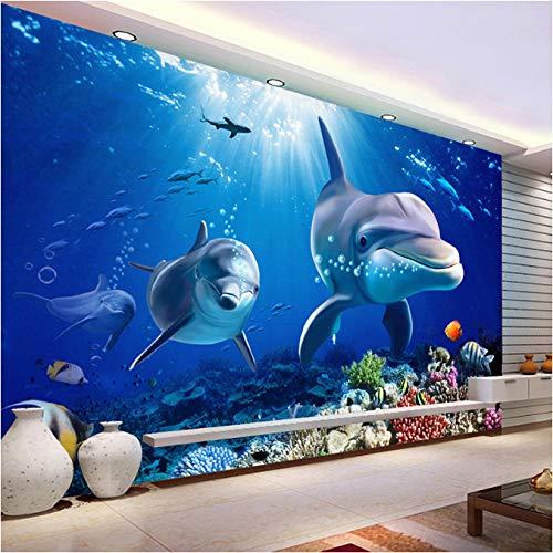 Fototapete Dolphin Underwater World Moderne Tapete Wohnzimmer Tv Hintergrund Wand 3D Seidentuch Home Decor300 (W) X210 (H) Cm