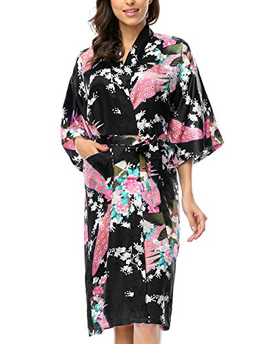 BELLOO Ladies Silk Satin Dressing Gown Long Kimono Robe, 12 Colors Size 8-22 UK