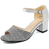 ZHZNVX Chaussures Femmes de Confort d'été PU Sandales Talon pour l'extérieur,Vert,Noir Vert US8.5/EU39/UK6.5/CN40