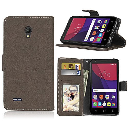 SATURCASE Alcatel One Touch Go Play/Conquest Hülle, Retro Mattiert PU Leder Magnetverschluss Brieftasche Standfunktion Schutzhülle Handy Tasche Hülle für Alcatel One Touch Go Play/Conquest (Braun)
