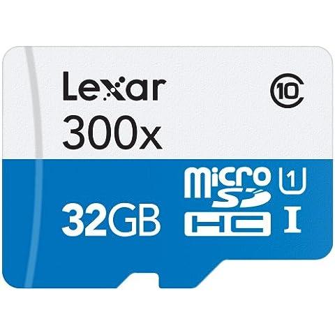 Lexar 300x microSDHC - Tarjeta de memoria de 32 GB (Clase 10 UHS-I 45MB/s), con adaptador SD