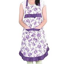 TININNA Delantal linda de Cocina con Dibujo Floral Delantal del lindo diseño floral Mujeres Niñas Morado
