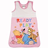 Baby- und Kinder- Sommer-Schlafsack ÄRMELLOS aus Baumwolle, UNGEFÜTTERT, Winnie The Pooh Ready to Play, GRÖSSE 56-62, 68-74, 80-86, 92-98, mit Druck-Knöpfen und Bein-Freiheit Farbe Rosa, Größe 80/86