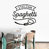 Hwhz 57X49 Cm Adesivo Da Parete Cucina Italiana Spaghetti Parete In Vinile Decalcomania Ristorante Pasta Design Poster Da Parete Cucina Food Decor