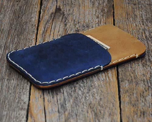 iPhone XS X Leder Tasche Hülle Hellbraunes und Blaues Etui Cover Case Handyschale Gehäuse Ledertasche Lederetui Lederhülle Handytasche Handysocke Handyhülle Schale Socke - Leder Zwei Tasche Tragen