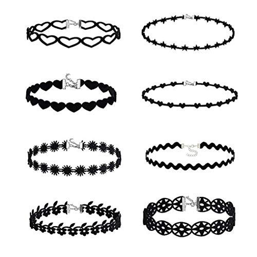 SMILEQ 8 Stück Choker Halskette Set Stretch SAMT Klassische Gothic Tattoo Spitze Choker (Mehrfarbig)