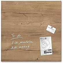 Sigel GL254 - Pizarra de cristal magnética, 48 x 48 cm, diseño Natural Wood