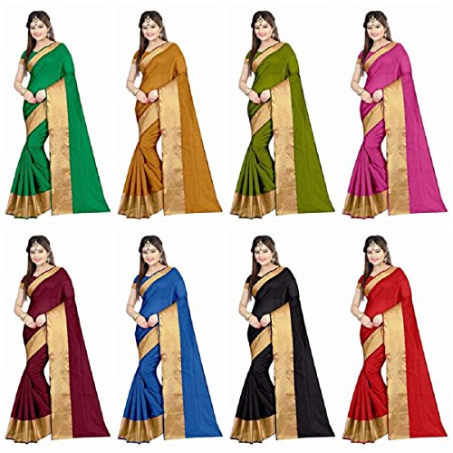 Hinayat Fashion Multicolor Cotton Saree Combo For Women