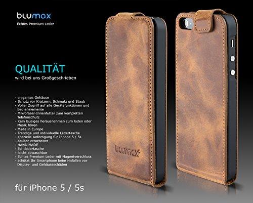 Blumax Flip Case Ledertasche für iPhone SE iphone 5s 5 Backcover Tasche Vintage Braun Antik Hellbraun