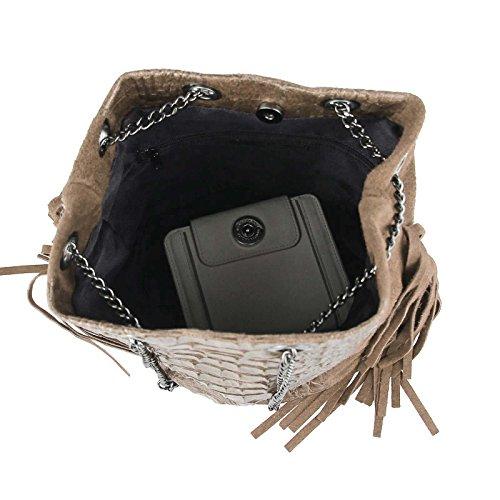 OBC Made in Italy Damen Tasche mit Kette/Kettentasche Fransen Wildleder Kroko Handtasche Umhängetasche Schultertasche Taupe