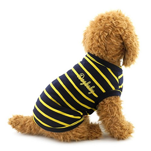 zunea Kleine Haustiere Hund Katze Weste T-shirt Baumwolle Streifen Doggy Shirts Chihuahua Puppy Kleidung Kostüm