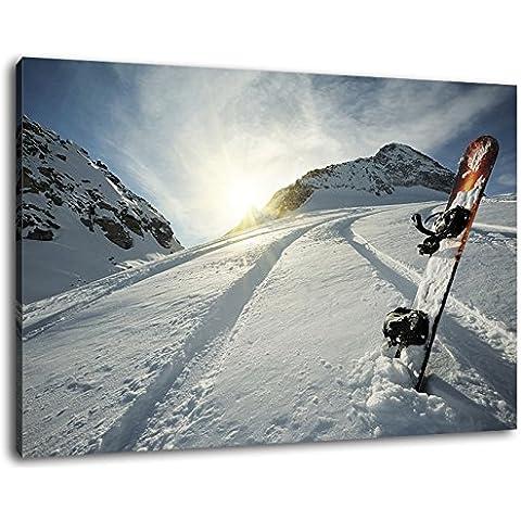 Snowboard nella neve Formato: cm 60x40 dipinto su tela-coperte, enormi Foto XXL completamente finito e incorniciate con barella, incorniciatura sulla foto parete con cornice, più conveniente che la pittura o l'immagine, senza manifesti o