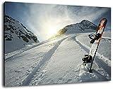 Snowboard im Schnee Format:80x60 cm Bild auf Leinwand bespannt, riesige XXL Bilder komplett und fertig gerahmt mit Keilrahmen, Kunstdruck auf Wand Bild mit Rahmen, günstiger als Gemälde oder Bild, kein Poster oder Plakat