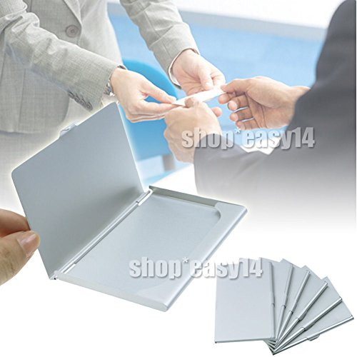 EMOTREE 6x Alu Visitenkarten Etui Business Card Box Metall Visitenkartenhalter 10~12 Karten