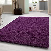 SMALL - EXTRA LARGE SIZE THICK MODERN PLAIN NON SHED SOFT SHAGGY RUGS CARPETS RECTANGLE & ROUND CARPETS COLORS ANTHRACITE BEIGE BROWN CREAM GREEN GREY LIGHTGREY PURPLE RED TERRA NAVY RUGS, Size:120x170 cm, Color:Purple