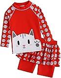 vaenait Baby 2T de 7T enfants MAEDCHEN Rashguard 23404Chemise à manches longues et pantalon court Large Hello Cat With Cap