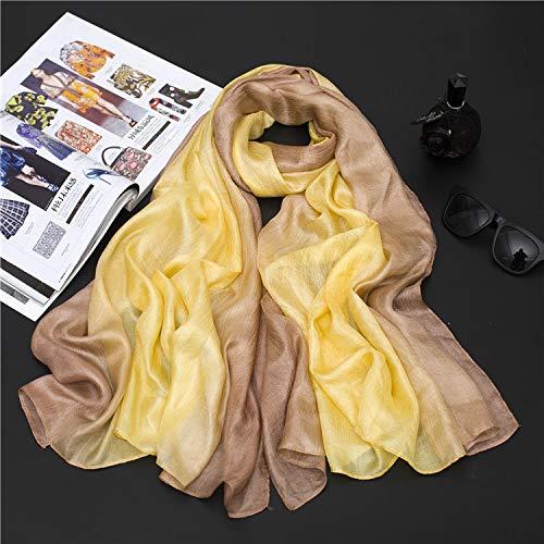 YOUR LIFE Seidenschal Schal niederländische Flachs weibliche Hand bemalt EIN Gradient von Baumwolle Strandtuch, Sonnencreme Garn Handtuch 6#Gelb Gradienten (Schals Bemalte)