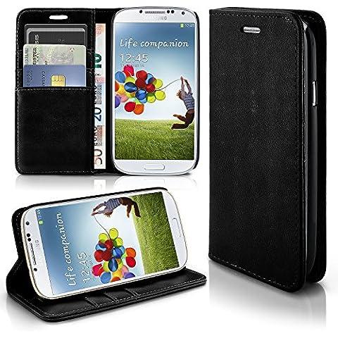 Caso casual para Samsung Galaxy S4 | caso práctico con ranuras para tarjetas y la función del soporte | Bolsa de protección celular OneFlow | La cubierta del tirón en Onyx