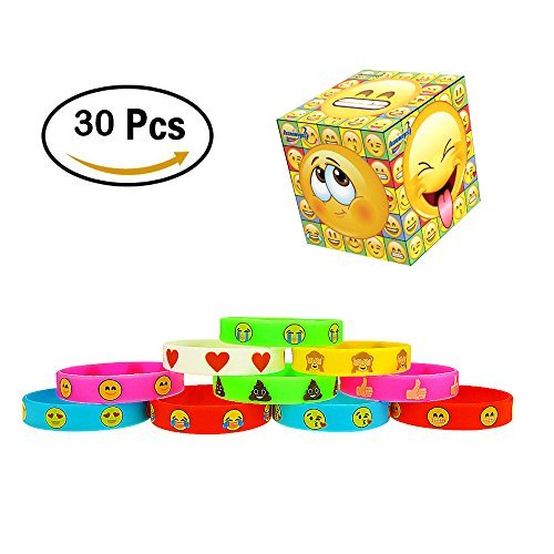 Emoji Emotion Silicone Wristband Bracelets Kids Birthday Party Favor (30Pcs)
