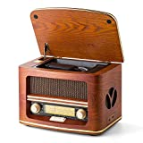 SHUMAN MC-261 Nostalgic Wooden Radio with CD/ MP3 Player, USB Playback/Recording, Built-in Speakers