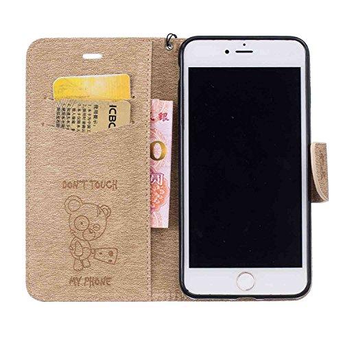 Guran® PU Ledertasche Case für Apple iPhone 7 Plus Smartphone Flip Cover Stent-Funktion und Karte Slot Hülle Retro Bären Etui - Braun Gold